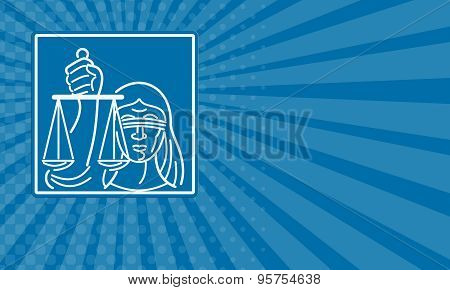 Business Card Lady Blindfolded Holding Scales Of Justice