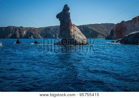 Picturesque Rocks Near Coast Of Island Milos, Greece