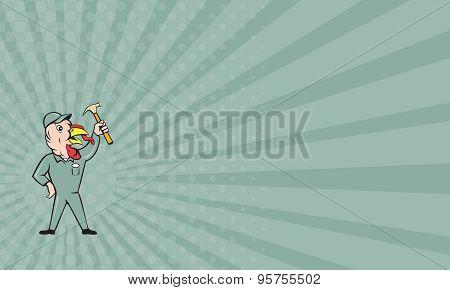 Business Card Turkey Builder Hammer Standing Cartoon