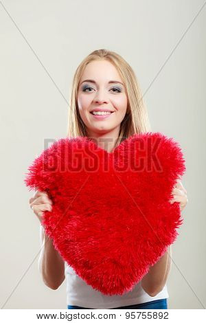 Woman Holding Heart Shaped Pillow Love Symbol