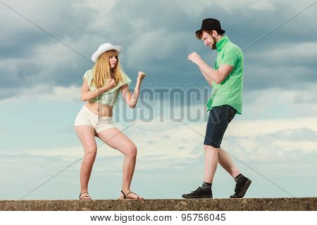 Hipster Couple In Love Playing Fighting Outdoor