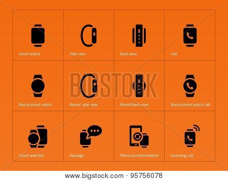 Mobile smart watch icons on orange background.