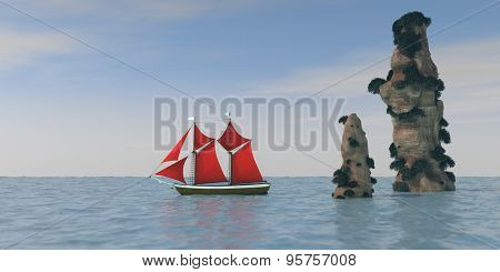 ship with red sails passing by cliffs in ocean