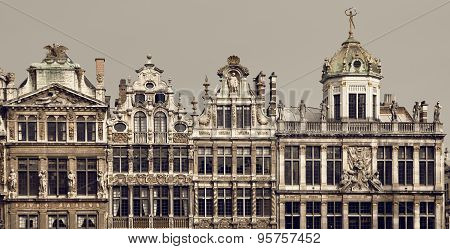 Vintage Brown Filter On Historical Buildings Of Brussels In Grand Place