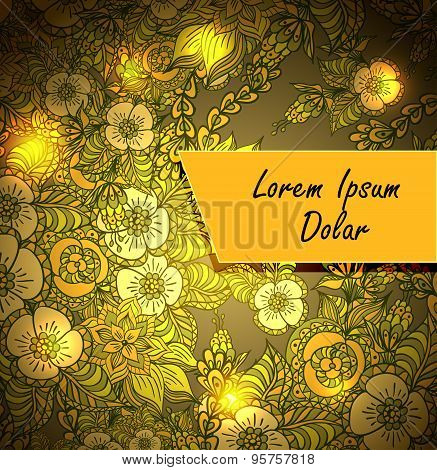 Template with doodle flowers and light in brown orang