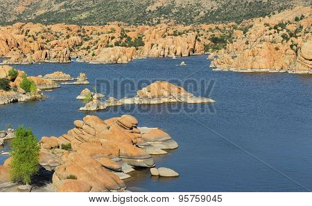 Lake with boulders in Southwest USA