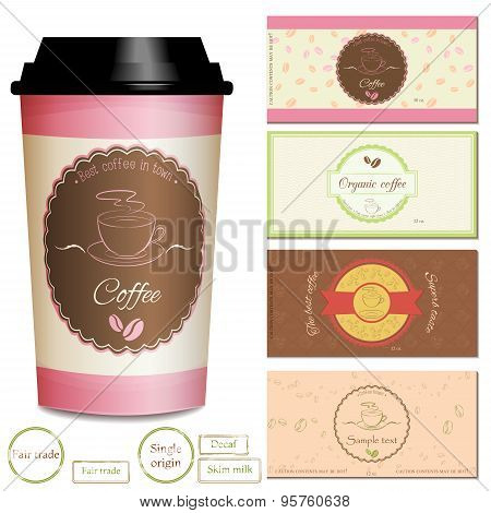 Collection of coffee shop logo and label designs.