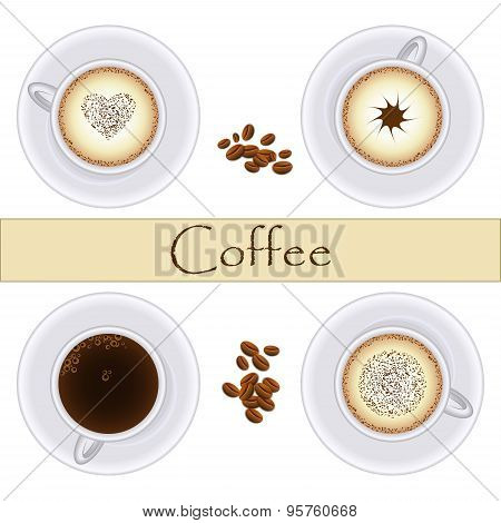 Collection Of Coffee Cups. Top View. Vector