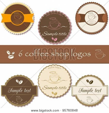 Collection Of Coffee Shop Labels, Logos
