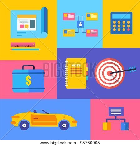 Vector Business Collection Of Flat And Colorful Web Icons