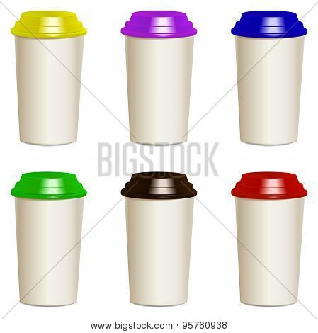 Collection Of Photorealistic Take Away Hot Drink Cups With Lids