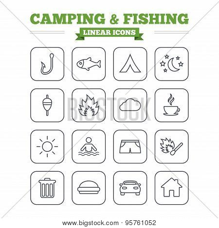 Camping and fishing linear icons set. Thin outline signs. Vector