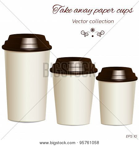 Collection Of Photorealistic Take Away Hot Drink Cups In Differe