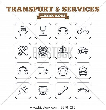 Transport and services linear icons set. Thin outline signs. Vector