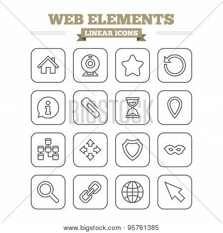 Web elements linear icons set. Thin outline signs. Vector