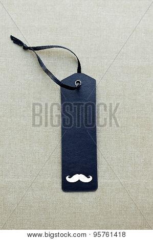 Black Blank Gift Tag With Mustache