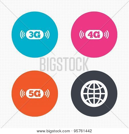Mobile telecommunications icons. 3G, 4G and 5G.