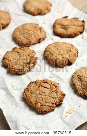Homemade cookies on paper close up