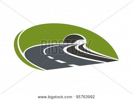 Icon of highway road with tunnel