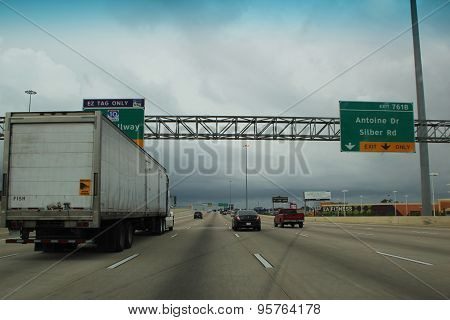US ROUTE 10 HOUSTON, TX - SEPTEMBER 29:  Driving US Route Highway 10 With Rain Ahead  2013