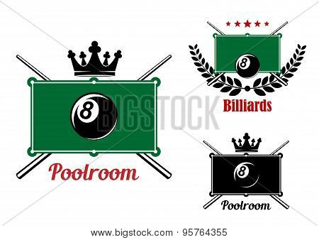 Pool, snooker and billiards emblems