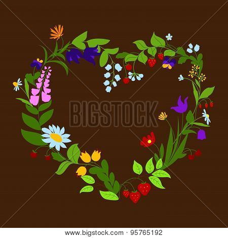 Heart shaped frame with flowers and berries