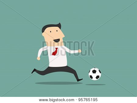 Businessman player running with the ball