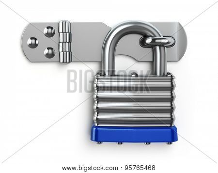 Padlock hanging on lock hinge. Security concept. 3d