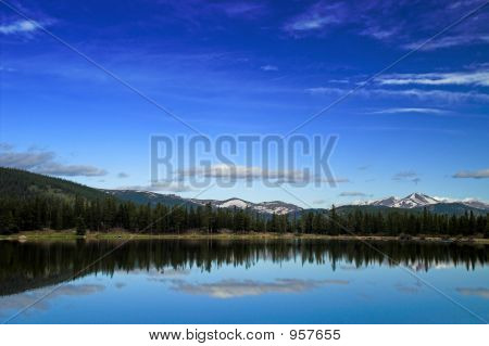 Colorado Mountains And Lake In Spring With Snow