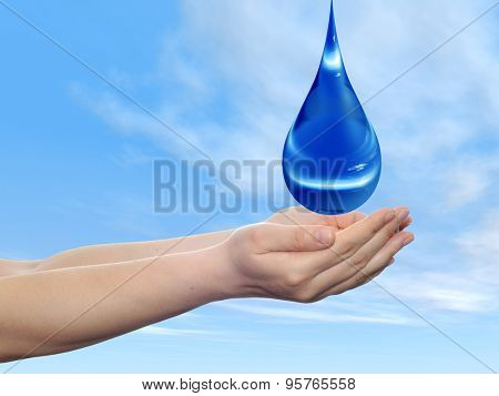 Concept or conceptual blue water or liquid drop falling in two woman hands on blue sky background