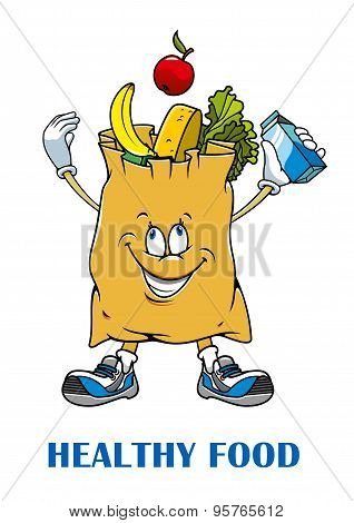 Shopping bag with healthy food