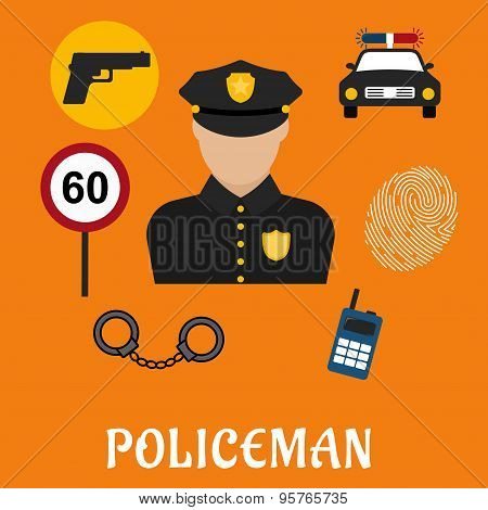 Policeman in uniform with police icons