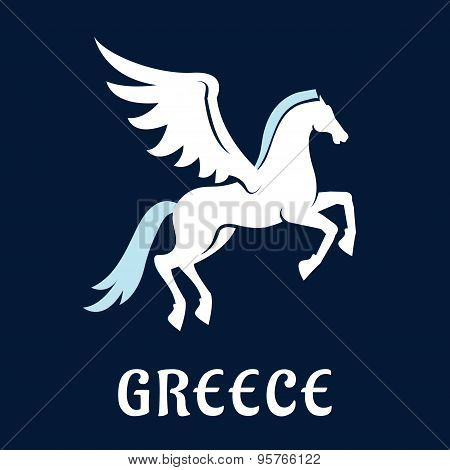 Flat greece Pegasus horse icon