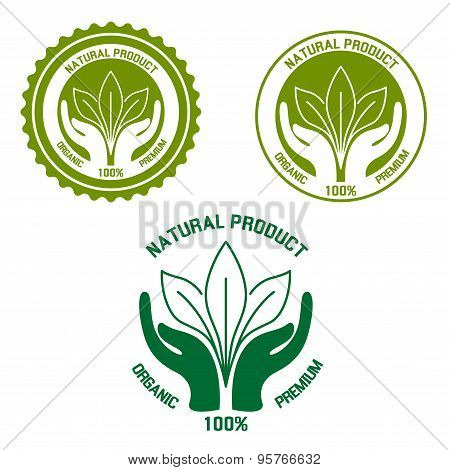 Natural product  icon with hands and leaves
