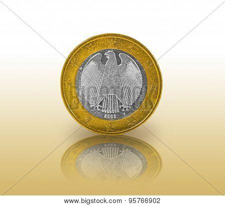 One Euro coin reflection
