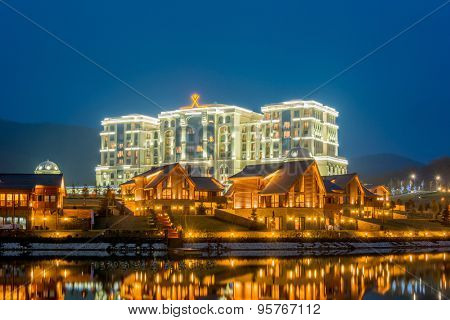 Quba - MARCH 26, 2015: Quba Rixos Hotel on March 26 in Azerbaijan, Quba. Quba Rixos Hotel is luxury hotel in northern Azerbaijan