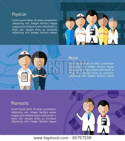 Physicians Such As Doctor, Nurse, And Pharmacist And Health Care Profession Infographic Banner Templ