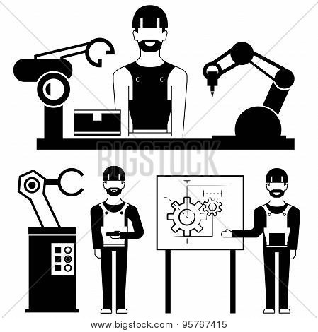 engineer and robot icons