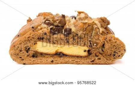 Healthy And Yummy Bread With Walnut Raisin And Melon Seed On White With Clipping Path