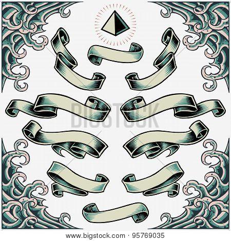 Wave Frame, Ribbons and Pyramid