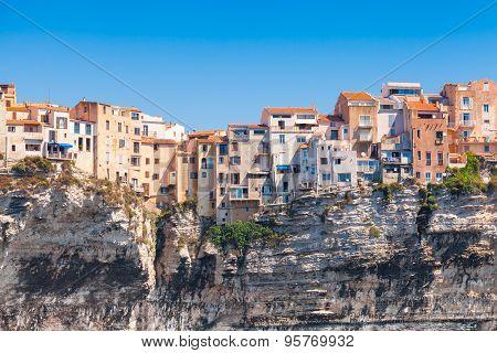 Old Living Houses On The Cliff. Bonifacio, Corsica