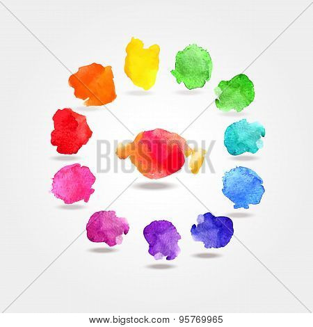 Watercolor paint rainbow circle palette
