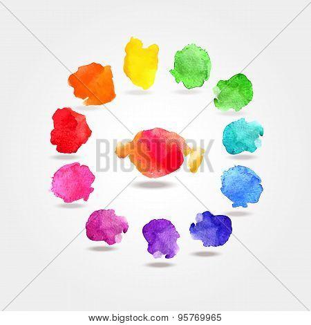 Watercolor paint rainbow circle palette