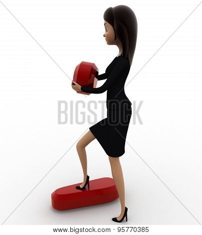 3D Woman Holding Dot Of Exclamation Mark Concept