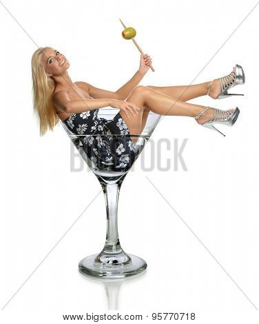 Portrait of young woman in Martini glass isolated over white background