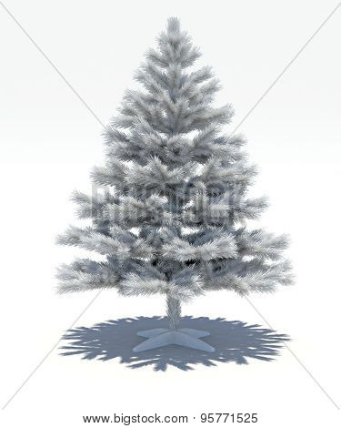3D Decorative White Fir-tree On A White Background