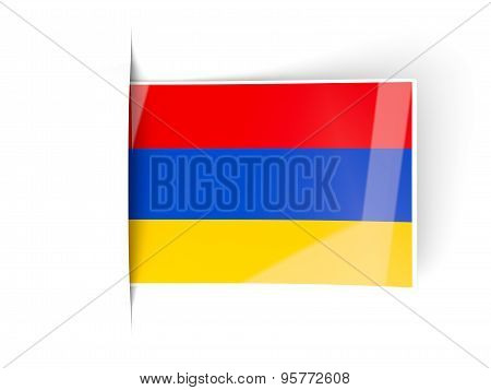 Square Label With Flag Of Armenia