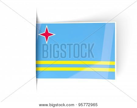 Square Label With Flag Of Aruba
