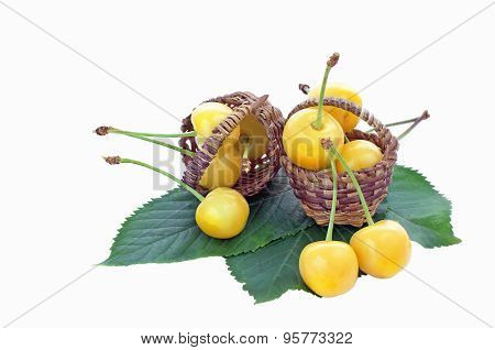 Two Small Baskets With Yellow Cherries