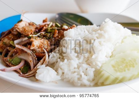 Sliced Grilled Pork Salad. Thai Food